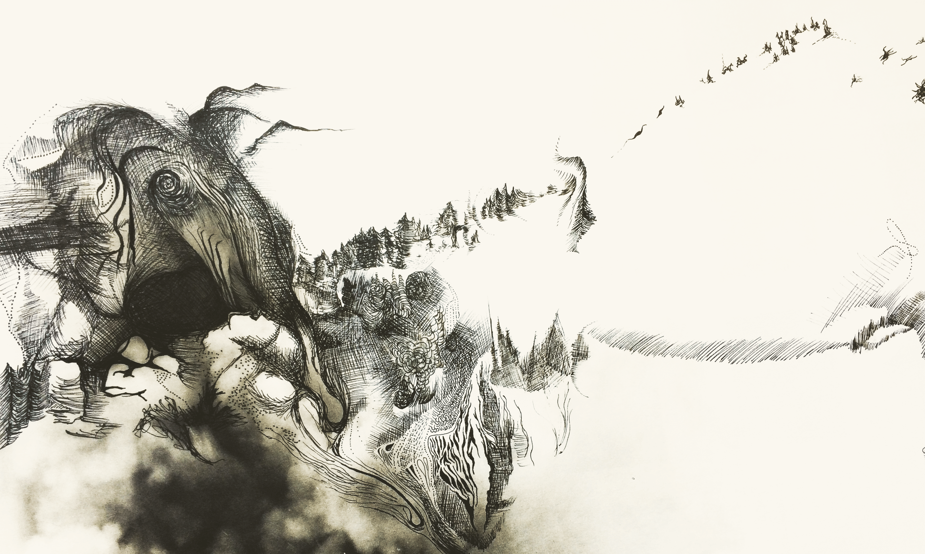 Snow elephant artwork